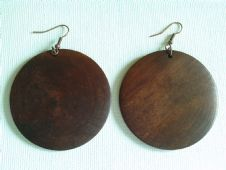 Extra large round wooden earrings